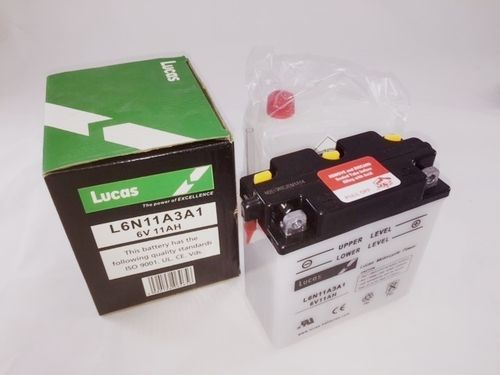 LUCAS Motorcycle Battery 6V from  11AH   With acid pack